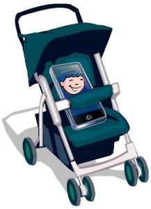 Kinderwagen mit Smartphone-Baby
