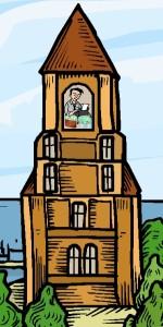 reicher Schriftsteller im Turm