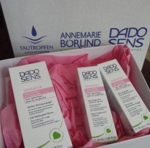 Das Testpaket bestehend aus drei verschiedenen DADO SENS Produkten