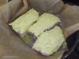 Filet mit Senfkruste... kurz anbraten und dann ab in den Ofen damit.